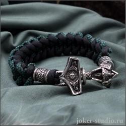 Мужской браслет из паракорда с застёжкой Молот Тора и бусами из серебра