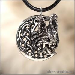Женская ювелирная подвеска с рысью и луной серебряное красивое украшение с кошкой