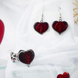 Женский комплект бижутерии серьги и кольцо с сердечками подарок на 14 февраля