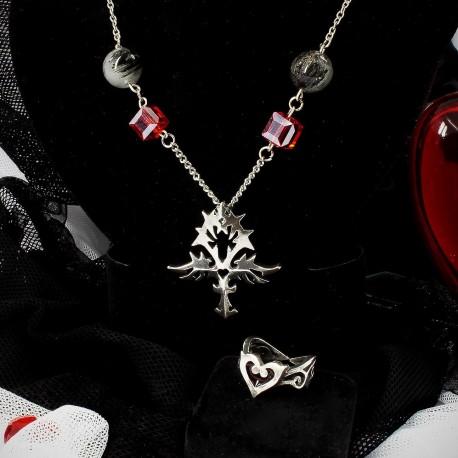Кулон анкх и кольцо с сердцем в готическом стиле подарок девушке 14 февраля