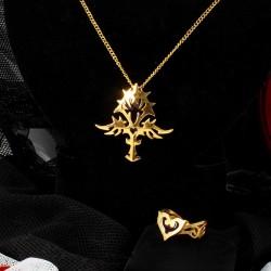 Молодежный комплект золотой бижутерии для девушки подарок 14 февраля