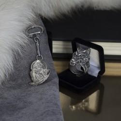 Мужские украшения кольцо и брелок для ключей с волком
