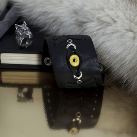Кожаный браслет с глазом волка и кольцо с головой волка подарок мужчине
