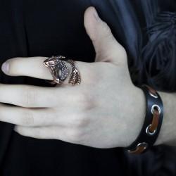 Кожаный браслет и кольцо с морским существом стильный подарок парню