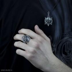 Мужские украшения кольцо и кулон амулет skyrim