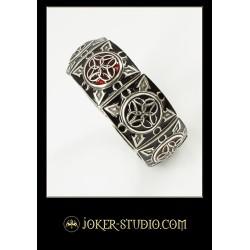 Женский модный браслет с ювелироной красной эмалью серебряная бижутерия