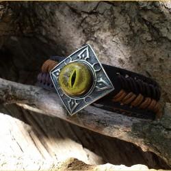 Дизайнерский кожаный браслет с глазом крокодила аллигатора