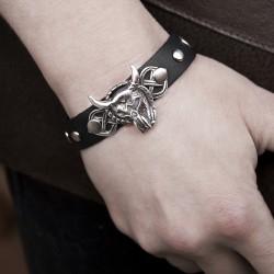 рок-браслет с черепом быка из натуральной кожи в рок стиле