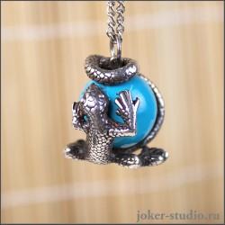 Подвеска ящерица с камнем символ удачи от мастерской Джокер