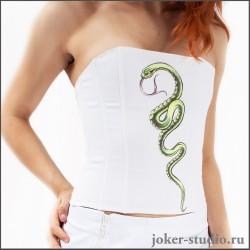 Белый корсет с рисунком змеи из джинса