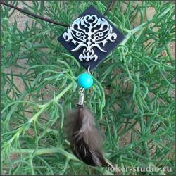 кулон лесного шамана с перьями купить дешево