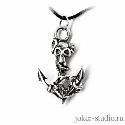 кулон якорь с черепом пирата Тича купить в рок-магазине Джокер