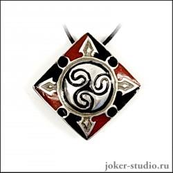 Подвеска спираль с кельтским символом трискель и ювелирной эмалью