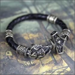 молот тора плетеный кожаный браслет мужской с кельтскими бусинами joker-studio.ru