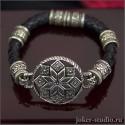 """Женский кожаный браслет с оберегом """"Алатырь"""" и кельтскими бусинами"""