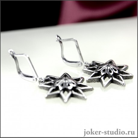Серьги Алатырь |Символ рода Славянские женские украшения из серебра