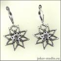Серьги оберег Алатырь миниатюрное украшение со славянской звездой