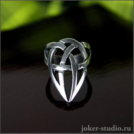 Коготь кольцо с кельтским узором и посеребрением - тринити