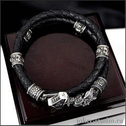 Молот Тора мужской кожаный браслет с двойным плетением и бусинами из черепов
