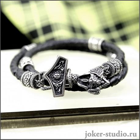 """Мужской кожаный браслет """"Молот Тора"""" с кельтскими и славянскими шармами Сварога"""