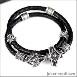"""Мужской браслет """"Молот Тора"""" с двойным шнуром черепными и кельтскими шармами"""