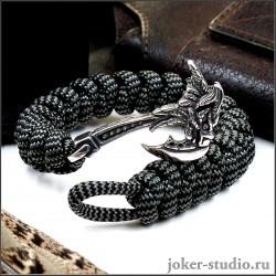 Мужской браслет из паракорда с топором Грифон и плетением змейка стильный аксессуар