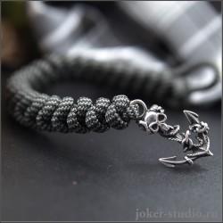 Морской якорь браслет из паракорда с серебряной застежкой стильное украшение с эмблемой пиратов