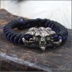 Фавн оригинальный браслет из цветного паракорда с добрым лесным божеством