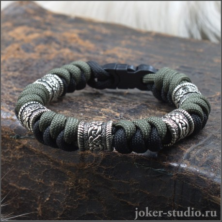 """Кельтский браслет из паракорда с ювелирными бусинами и плетением """"Испанский узел"""""""