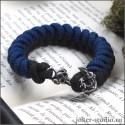 Браслет из синего паракорда с черепом и якорем украшение ручной работы