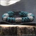 Браслет из паракорда змейка цвета морской волны с шармами Сварога