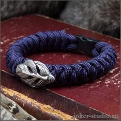 """Модный браслет фиолетового из паракорда змейка с маской джина """"Пери"""""""