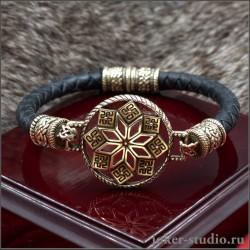 Женский славянский оберег браслет Алатырь из ювелирной бронзы