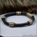 Кожаный браслет штур с бронзовыми бусами Сварога в славянском и кельтском стиле