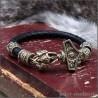 Браслет из натуральной кожи с бронзовым Молотом тора и шармами Сварога
