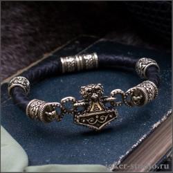 Кожаный браслет Мьёльнир с бусами Сварога из бронзы оригинальное украшение ручной работы