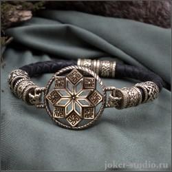 Браслет из кожаного шнура со звездой Алатырь и бусами с символом Сварога из бронзы