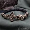 Кожаный браслет Молот Тора с кельтскими шармами из бронзы стильное мужское украшение