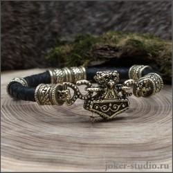 Мужской браслет Молот тора на руку с плетением из кожи с бронзовым Мьёльниром