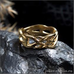 """Плетеное золотое кольцо стильная ювелирная бижутерия """"Кураре"""""""