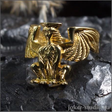 Золотое кольцо Сфинкс современное украшение в греческом стиле