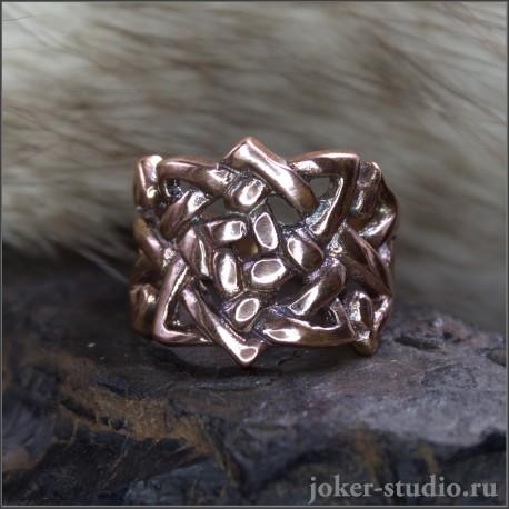 Ювелирное женское кольцо из меди с кельтским узором Бригид