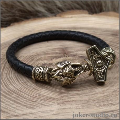 Кожаный плетеный браслет из черной кожи с бронзой|Молот Тора подарок мужчине