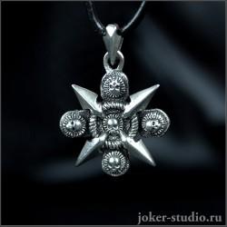 Пиратский кулон в виде креста с компасом и черепми стильная молодежная подвеска - Тартуга