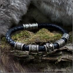 Плетеный браслет из натуральной черной кожи в стиле панк с черепом