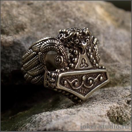 Кольцо Молот Тора из бронзы амулет для мужчины ручной работы