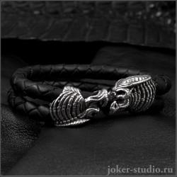 Мужской браслет на руку из натуральной кожи с головой хищника Яутжи