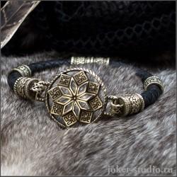 Плетеный кожаный браслет из золотой бронзы с Алатырем - ручная работа