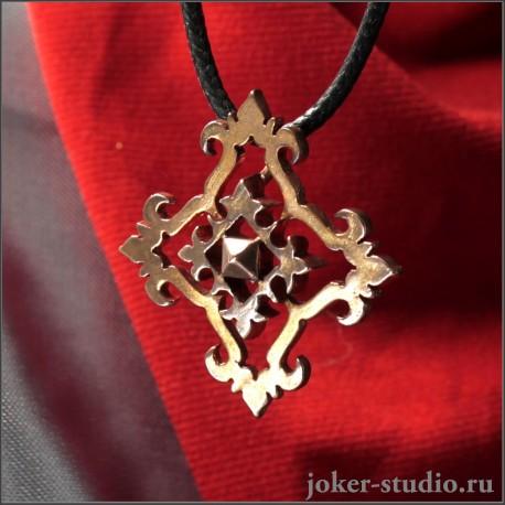 Красивая бижутерия женский кулон в виде медного креста с Вологодским узором