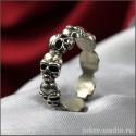 """Готическое кольцо с черепами """"Эннеа"""" магическое число девять"""